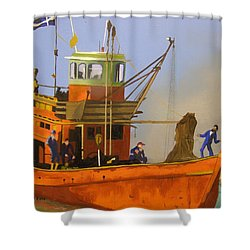Fishing In Orange Shower Curtain