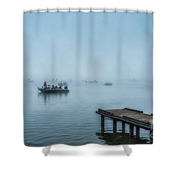 Fishing In The Fog Summersville Lake  Shower Curtain