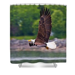 Fishing In The Rain Shower Curtain by Mike  Dawson