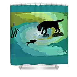 Fishing Labrador Dog Shower Curtain