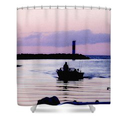 Shower Curtain featuring the photograph Fishing Lake Ontario  Lake Ontario  by Iconic Images Art Gallery David Pucciarelli