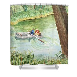 Shower Curtain featuring the painting Fishing Lake Tanko by Vicki  Housel