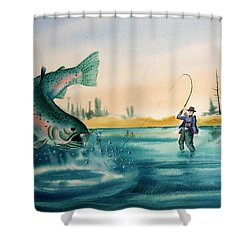 Fishing Montana Shower Curtain by Kevin Heaney