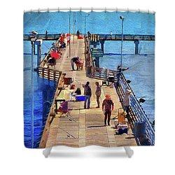 Fishing Off Galvaston Pier Shower Curtain