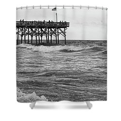 Shower Curtain featuring the photograph Fishing Off The Pier At Myrtle Beach by Chris Flees