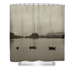 Fishing On Foggy Columbia River Shower Curtain
