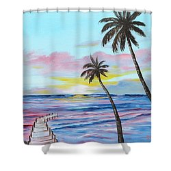 Fishing Pier Sunset Shower Curtain