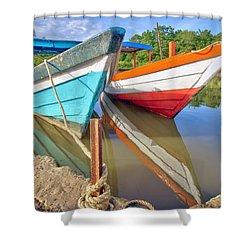 Fishing Pirogues  Shower Curtain by Nadia Sanowar