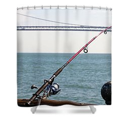 Fishing Rod On The Pier In San Francisco Bay Shower Curtain