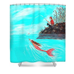 Shower Curtain featuring the painting Fishing Surprise by Leslie Allen