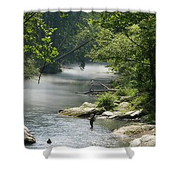 Shower Curtain featuring the photograph Fishing The Gunpowder Falls by Donald C Morgan