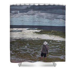 Fishing The Surf In Lavallette, New Jersey Shower Curtain