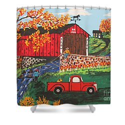 Shower Curtain featuring the painting Fishing Under The  Covered Bridge by Jeffrey Koss