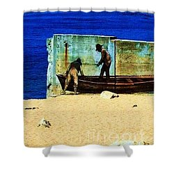 Shower Curtain featuring the photograph Fishing by Vanessa Palomino
