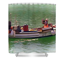 Shower Curtain featuring the digital art Fishing Vessel  by Paul Gulliver