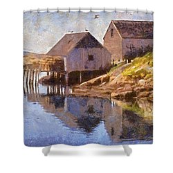 Fishing Wharf Shower Curtain by Jeffrey Kolker