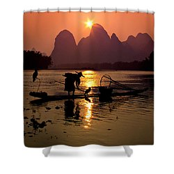 Fishing With Cormorants Shower Curtain