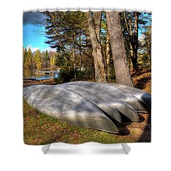 Shower Curtain featuring the photograph Five Canoes At Woodcraft Camp by David Patterson