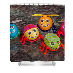 Five Easter Egg Bugs Shower Curtain by Sue Smith