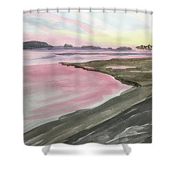 Five Islands - Watercolor Sketch  Shower Curtain by Joel Deutsch