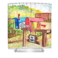 Five Mail Boxes In Route 1, San Simeon, California Shower Curtain