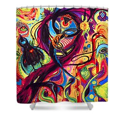 Shower Curtain featuring the painting Raven Masquerade by Marina Petro