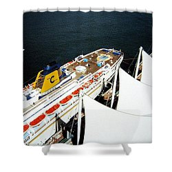 Five Sails And A Ship Shower Curtain by Will Borden
