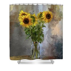 Five Sunflowers Centered Shower Curtain