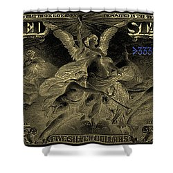 Shower Curtain featuring the digital art Five U.s. Dollar Bill - 1896 Educational Series In Gold On Black  by Serge Averbukh