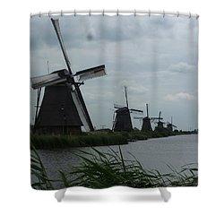 Five Windmills In Kinderdijk Shower Curtain