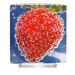 Fizzy Strawberry With Bubbles On Blue Background Shower Curtain