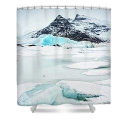 Fjallsarlon Glacier Lagoon Iceland In Winter Shower Curtain by Matthias Hauser