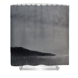 Shower Curtain featuring the painting Fjord Landscape by Tone Aanderaa
