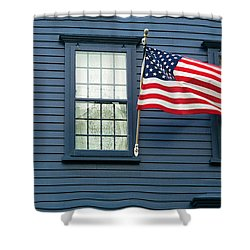 Shower Curtain featuring the photograph Flag And Lace by Kenneth Campbell