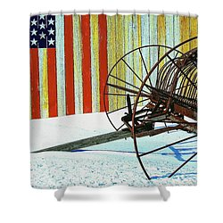 Flag And The Wheel Shower Curtain