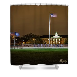 Shower Curtain featuring the photograph Flag At Night In Wind by Gregory Daley  PPSA