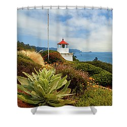 Shower Curtain featuring the photograph Flag At The Trinidad Memorial Lighthouse by James Eddy