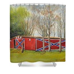Flag Barn Shower Curtain
