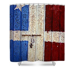 Flag Door Shower Curtain by Garry Gay