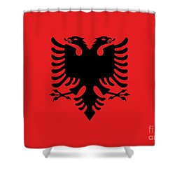 Shower Curtain featuring the digital art Flag Of Albania Authentic Version by Bruce Stanfield