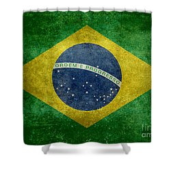 Flag Of Brazil Vintage 18x24 Crop Version Shower Curtain