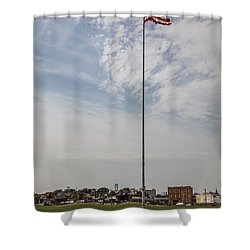 Flag Poll At Detroit Tiger Stadium  Shower Curtain by John McGraw