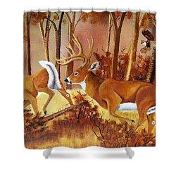 Flagging Deer Shower Curtain by Debbie LaFrance