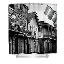 Flags On Bourbon In Black And White Shower Curtain