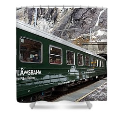 Flam Railway Shower Curtain by Suzanne Luft
