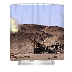 Flame And Smoke Emerge From The Muzzle Shower Curtain by Stocktrek Images