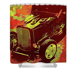 Flamed 1932 Ford Roadster Hot Rod Pop Red Shower Curtain