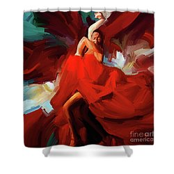 Shower Curtain featuring the painting Flamenco Dance 7750 by Gull G