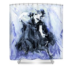 Shower Curtain featuring the painting Flamenco Dancer Art 45h by Gull G