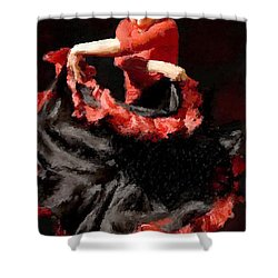 Flamenco Frills Triptych Panel 3 Of 3 Shower Curtain